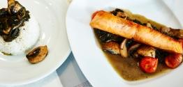 Baked fish & mushroom risotto